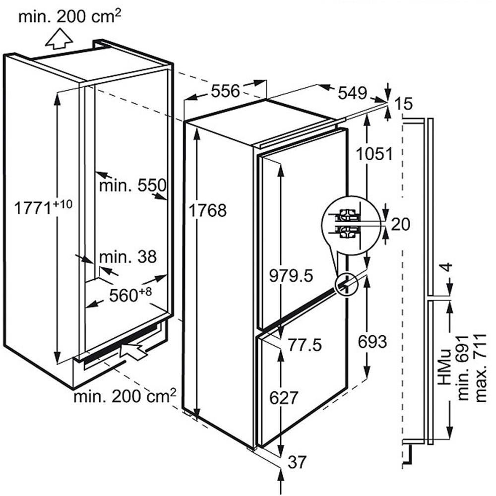 AEG koelvriescombinatie (inbouw) SCS71801F1