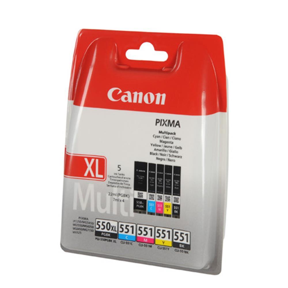 Canon cartridge voordeelpak PG550CL551 (PG-550 XL + 4x CL-551)